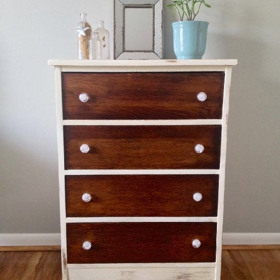 A Vintage Painted Stained Dresser
