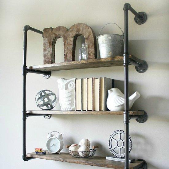 diy industrial piping shelves