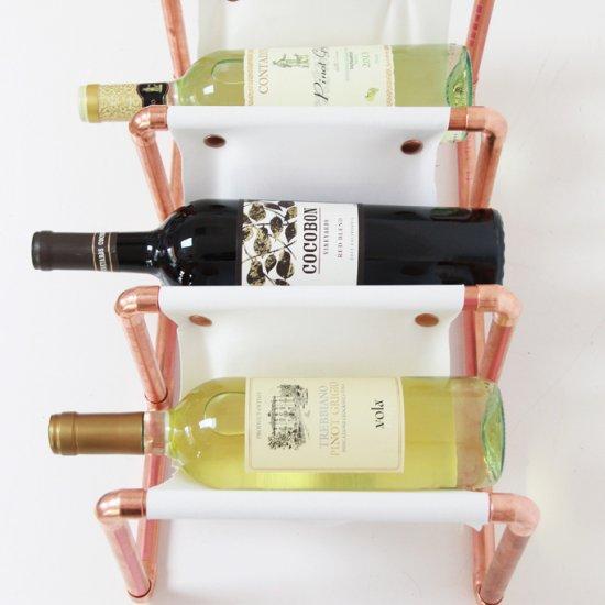 Copper Leather Wine Rack