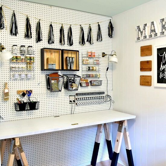 Black White Craft Room