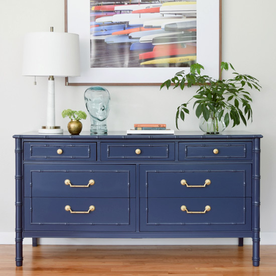 Navy Faux Bamboo Painted Dresser