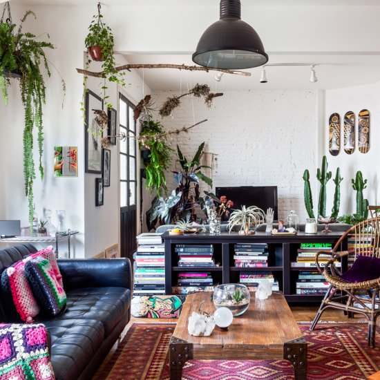 Colorful Bohemian Living Room Industrial - Modern home ...
