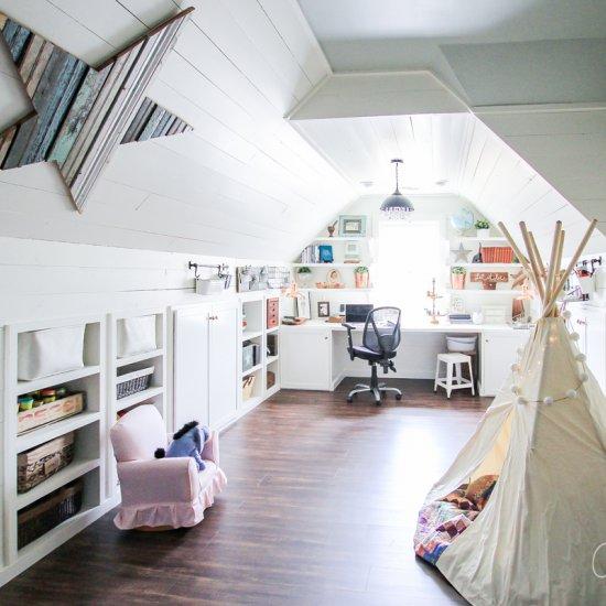Attic turned office/playroom
